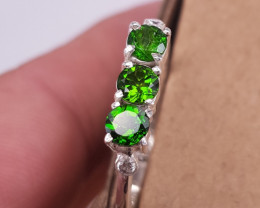 Hand made Natural Chrome Diopside and CZ Ring