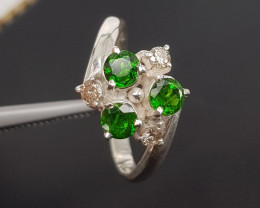 Hand made chrome Diopside and Diamond Ring.