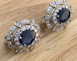 Natural Sapphire and CZ Ear studs.