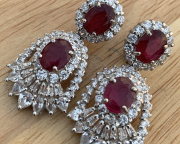 Natural Ruby and CZ Earring.