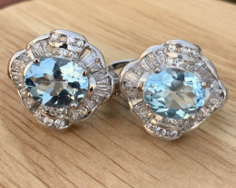 Natural Swiss blue Topaz Ear studs with CZ.
