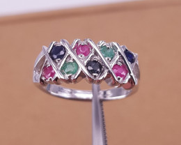 Natural Emerald Sapphire Ruby Ring