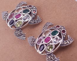 Natural Ruby With Emereld,Citrin,With Peridot Earrings