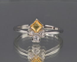 Natural Citrine , CZ and 925 Silver Ring