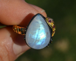Moonstone and Garnet Ring in Sterling Silver