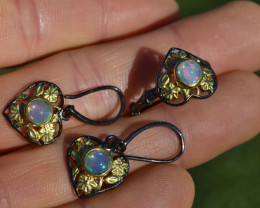 Opal Ring and Earring Set in Sterling Silver