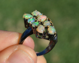 Opal Cluster Ring in Sterling Silver