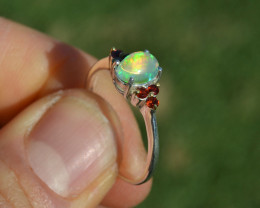 Opal and Garnet Ring in Sterling Silver