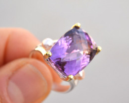 Huge Amethyst Solitaire Ring in Sterling Silver