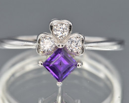Natural Amethyst , CZ and 925 Silver Ring