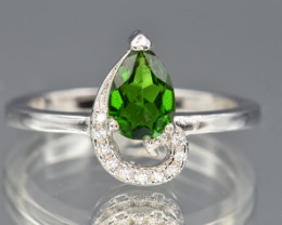Natural Chrome Diopside , CZ and 925 Silver Ring