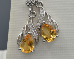 Natural Citrine  , CZ and 925 Silver Earrings