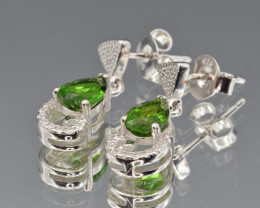 Natural Chrome Diopside , CZ and 925 Silver Earrings