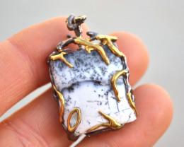 Fine Dendritic Agate Pendant in Sterling Silver