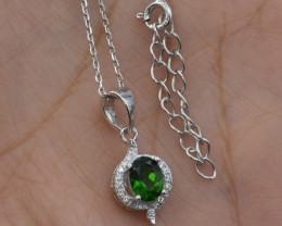 Natural Chrome Diopside and 925 Silver Pendant with Chain