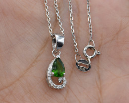 Natural Chrome Diopside , CZ  and 925 Silver Pendant with Chain