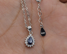 Natural Rhodolite Garnet and 925 Silver Pendant with Chain