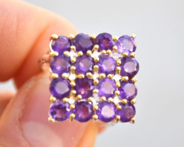 Gorgeous Amethyst Cluster Ring in Sterling Silver