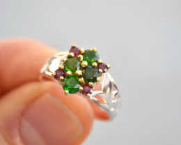 Chrome Diopside and Garnet Ring in Sterling Silver