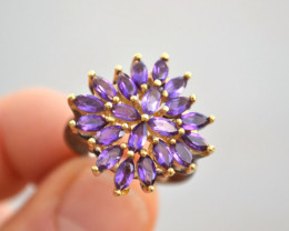 Amethyst Cluster Ring in Sterling Silver