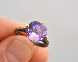 Amethyst Solitaire Ring in Sterling Silver