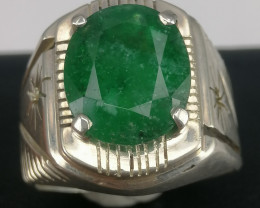 7 Carat + Natural  Swat Emerald Man Ring.