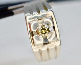 0.15  ct Natural Yellowish White Diamond Silver Ring