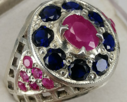 Natural Africa Ruby And Glass fill Stone Ring.
