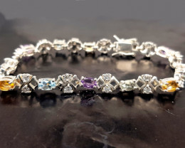 Natural Blue Topaz Amethyst And Citrine Bracelet