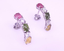 Natural Tourmaline cab  Earrings