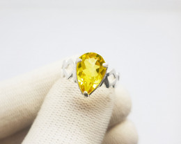 Natural Yellow Citrine In Sterling Silver Ring