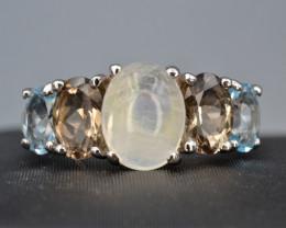 Natural Opal, Blue Topaz, and Smoky Quartz Silver Ring
