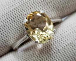 Natural Yellow Citrine 15.40 Carats Hand Made Silver Ring