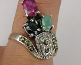 Natural Multi Stone New Design Ring .