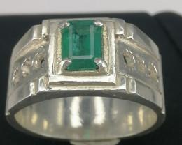 Natural Zambian Emerald Man Ring.