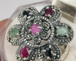 Natural Multi Stone And CZ Ring .