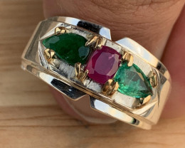 Beautiful Natural Emerald and Ruby Ring.