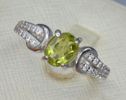 Natural Green Peridot 15.98 Cts CZ and  Silver Ring