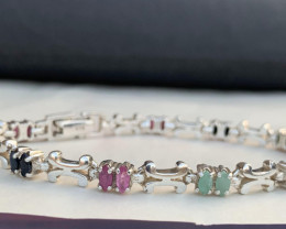 Natural Emerald, Ruby and sapphire Bracelet.