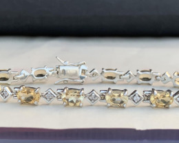 Natural Citirine  and CZ Bracelet. TCW 11.05