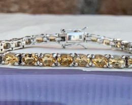 Natural Citrine  and CZ Bracelet. TCW 9.55 approx