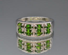 Natural Chrome Diopside Silver Ring
