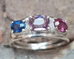 Hand made Natural Spinel Blue Sapphire and Pink sapphire Ring