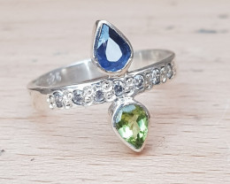 Hand made Natural Sapphire Peridot and CZ Ring