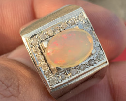 Natural Opal and diamonds Gents Ring.