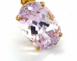 Pink Kunzite 36.00ct Solid 22K Yellow Gold Pendant