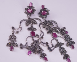 Flawless Natural Ruby Earring And CZ.
