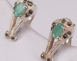 Natural Emerald and CZ Earring.