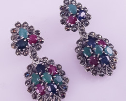 Natural Ruby With Emereld And Sapphire Earrings