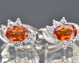 Orange Sapphire  , CZ and 925 Silver Earrings